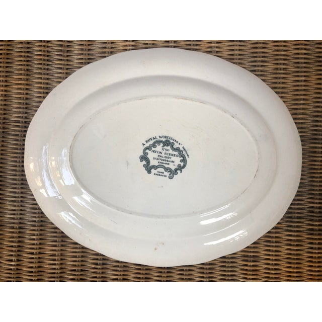 "Green Royal Worcester Palissy ""Avon Scenes"" Hand Engraved Porcelain Platter For Sale - Image 8 of 10"