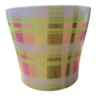 Hand-Painted Neon Plaid Check Pink and Green Planter Catchall For Sale