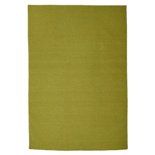 Contemporary Boho Chic Aelfie Sage Green Solid Flatwoven Wool Rug - 4' X 6'
