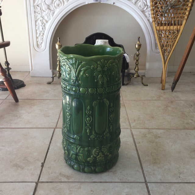 Green Green Majolica Umbrella Stand For Sale - Image 8 of 8