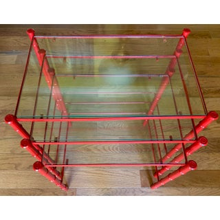 Vintage Faux Bamboo Red Chrome Nesting Tables - Set of 3 Preview