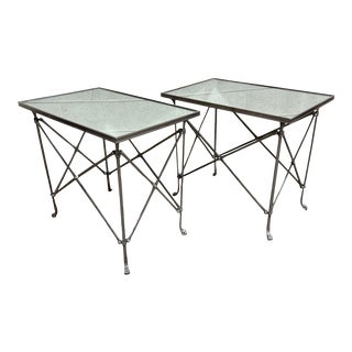 Global Views Directoire Nickel Mirrored Top End Tables - a Pair For Sale