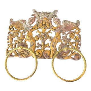 Antique French Gilded Towel Rings For Sale