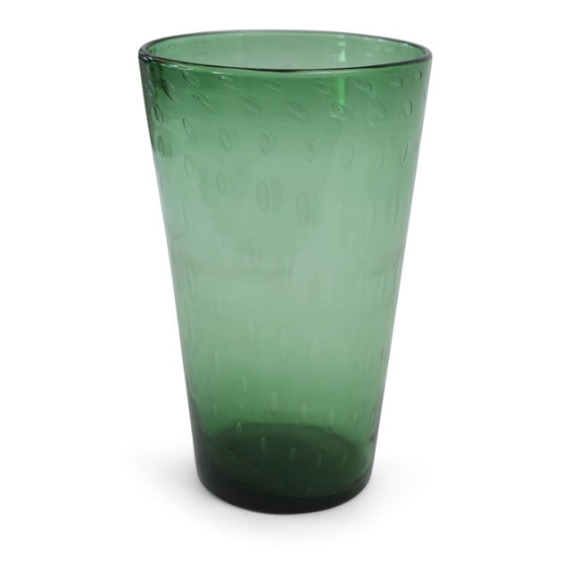 Empoli Italian Green Glass Vase For Sale - Image 4 of 7