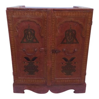 Red Leather Two Door Cabinet For Sale