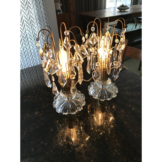 Vintage Art Deco Crystal Chandelier Lamps - A Pair - Image 8 of 10