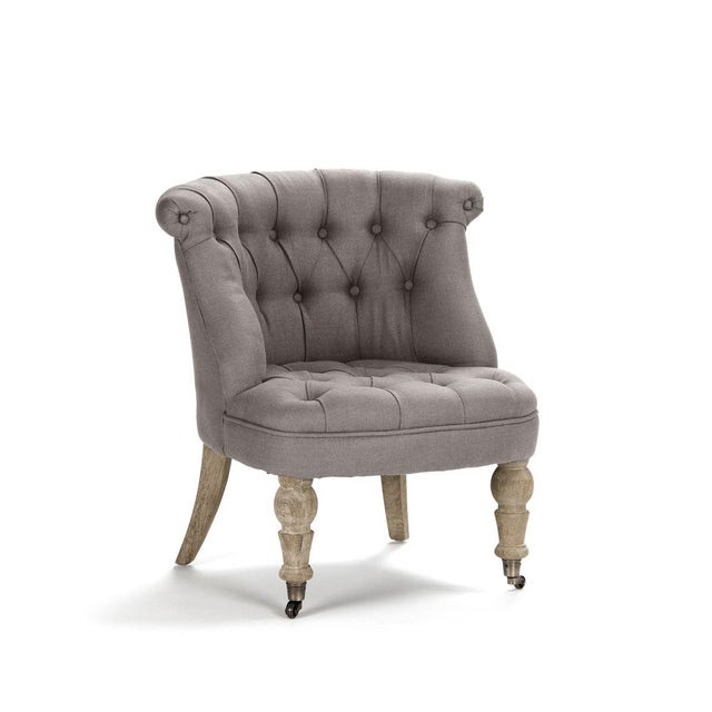 Tufted slipper chair upholstered in grey linen, finished with limed grey oak, framed in oak, filled with foam, and two...