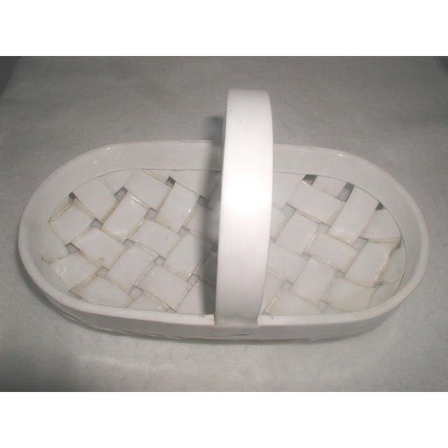 1980s Vintage Ceramic Lattice Handled Bowl or Planter For Sale - Image 5 of 8