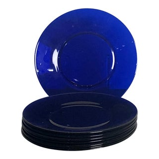 Cobalt Blue Glass Plates, China Circa 1920 For Sale