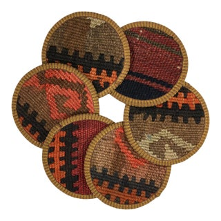 Kilim Coasters Set of 6 - Fasulye For Sale