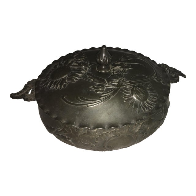 Vintage Art Nouveau Floral Pewter Dish For Sale