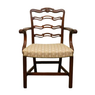 1940's Traditional Duncan Phyfe Mahogany Ladderback Dining Arm Chair