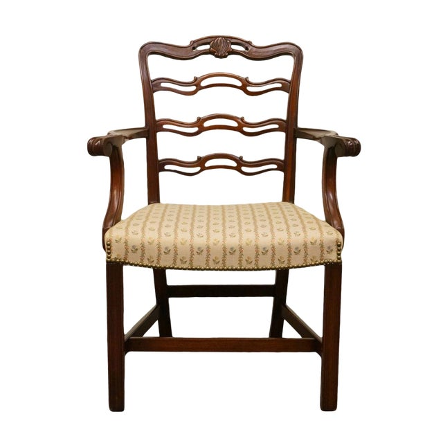 1940's Traditional Duncan Phyfe Mahogany Ladderback Dining Arm Chair For Sale