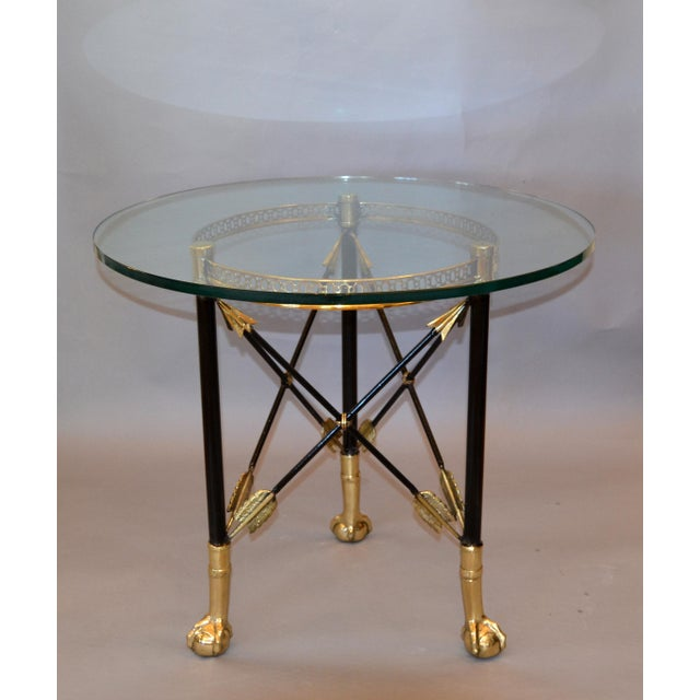 Round Bronze Glass Coffee Table Ball and Claw Feet For Sale - Image 4 of 13