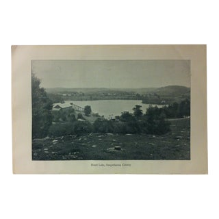 "Vintage Print of an American Lake, ""Heart Lake - Susquehanna County"", Circa 1930 For Sale"