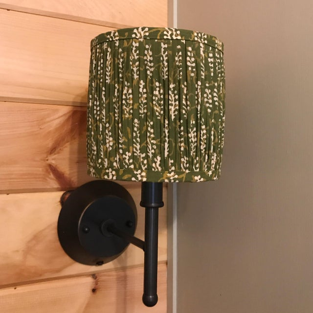 Green Block Print Gathered Sconce or Chandelier Shade For Sale - Image 4 of 6
