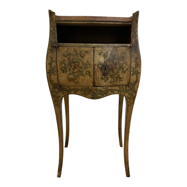 Early 20th-Century French Inspired Hand Painted Side Cabinet + Marble Top For Sale