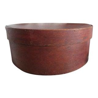 1790s Americana Handmade Decorated Oak & Pine Wood Cheese Box For Sale