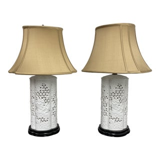 Mid 20th Century Chinese Blanc De Chine Table Lamp - a Pair For Sale