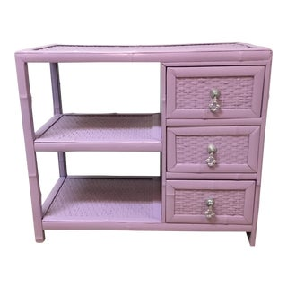 Vintage Lavender Faux Bamboo & Rattan Painted Storage Unit