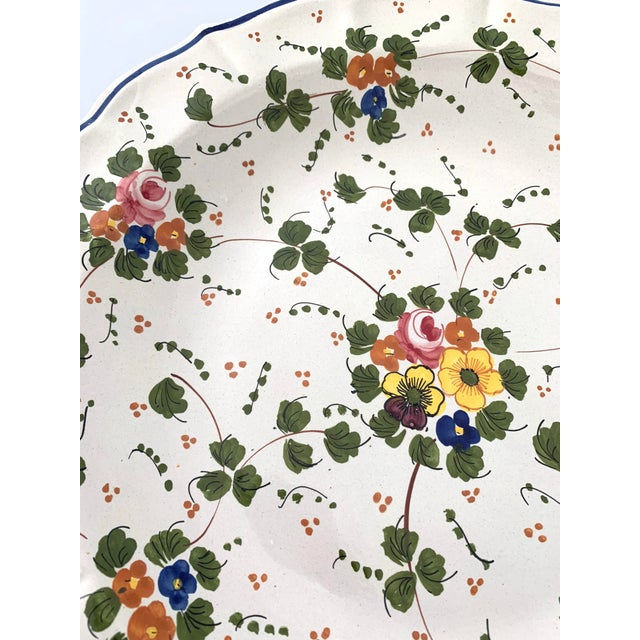 Vintage Italian Ceramic Hand Painted Botanical Serving Tray For Sale - Image 4 of 7