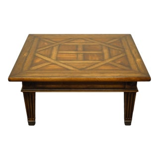 """Henredon Furniture Rustic Italian Tuscan Style 48"""" Square Accent Coffee Table With Inlay Top For Sale"""