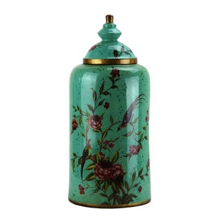 Pasargad DC Modern Contemporary Turquoise Floral Porcelain Jar For Sale