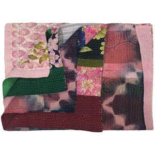 Pink and Green Patchwork Vintage Kantha Quilt | Sari Quilt Throw For Sale