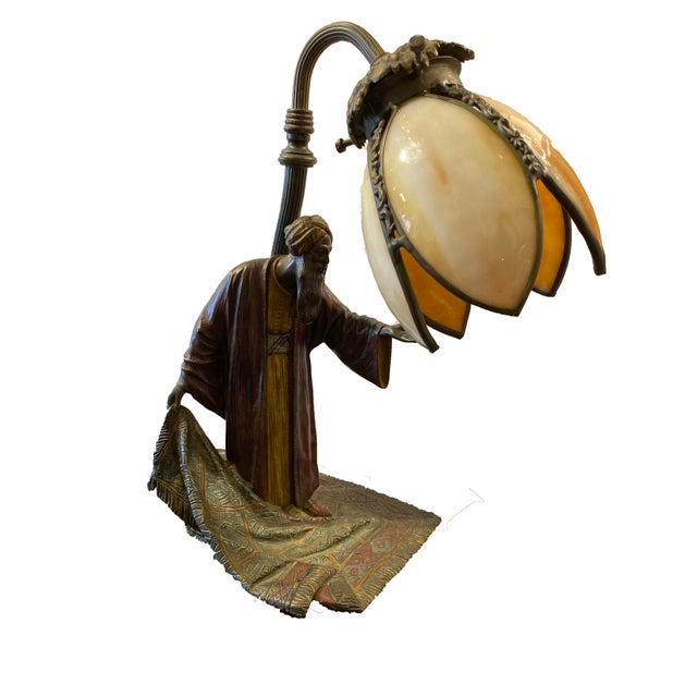 Figurative 19th Century Cold Painted Austrian Bronze Figural Lamp For Sale - Image 3 of 5