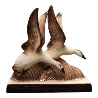 Circa 1930 French Art Deco Ducks in Flight Ceramic Sculpture by Francois Levallois For Sale