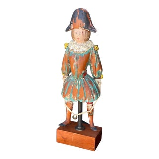 Mid 20th Century Hand Painted Wooden Figure For Sale