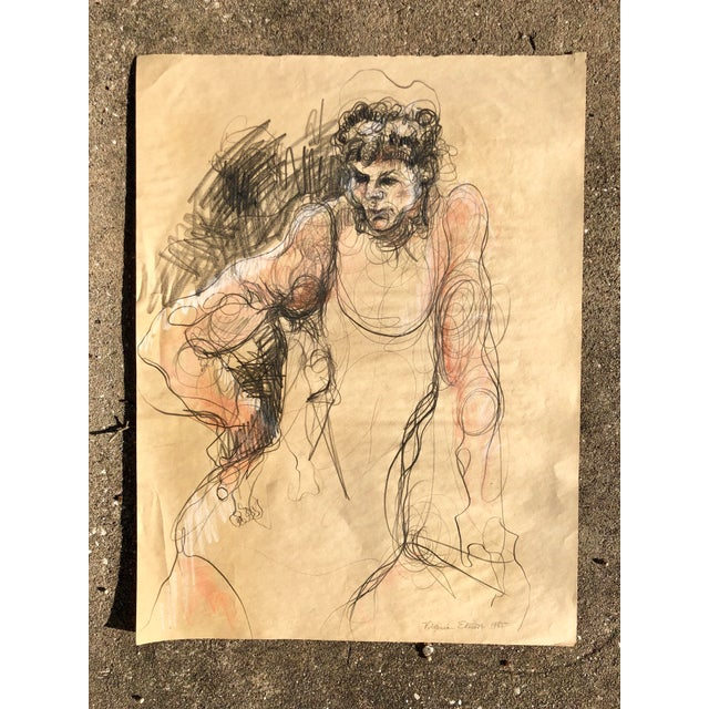 Vintage Charcoal Portrait of a Woman For Sale - Image 4 of 4