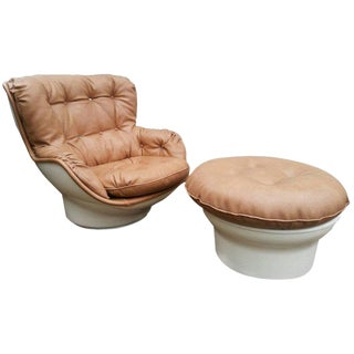 1970s Michael Cadestin for Airborne Karate Lounge Chair with Ottoman - a Pair For Sale