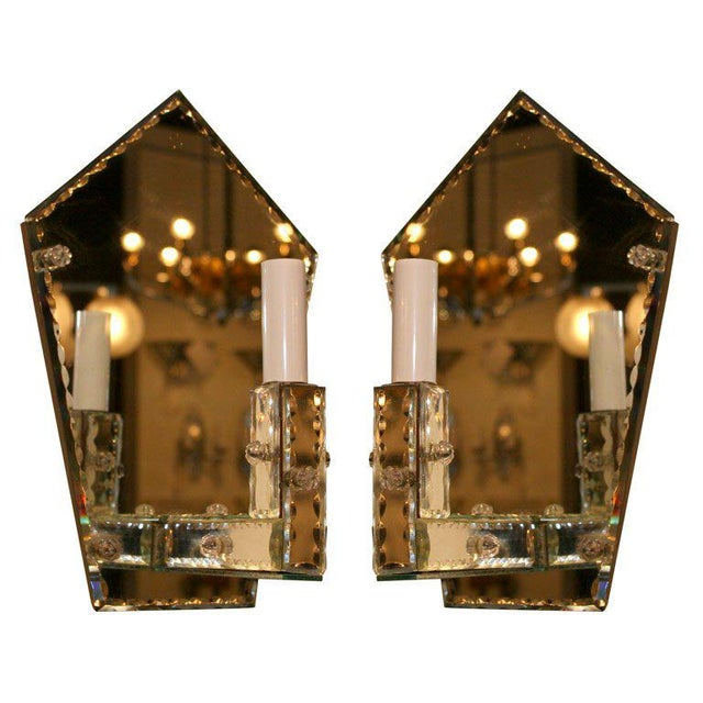 Pair of 1940's Art Deco Mirrored Pentagon Sconces For Sale In New York - Image 6 of 6