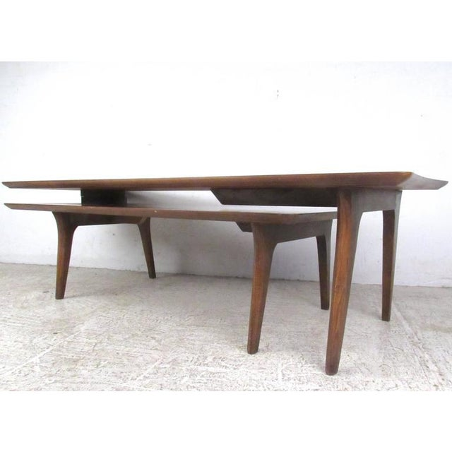 Wood Vintage Modern Two-Tier Pivot Coffee Table For Sale - Image 7 of 11