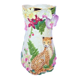 Vintage Fitz and Floyd Serengeti Tall Vase For Sale