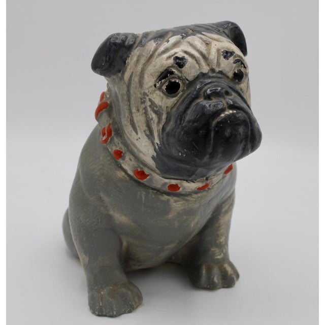 "A charming 1930s Chalkware Carnival Prize Bulldog Statue, original maker's initials ""RM"" etched into the ceramic on the..."