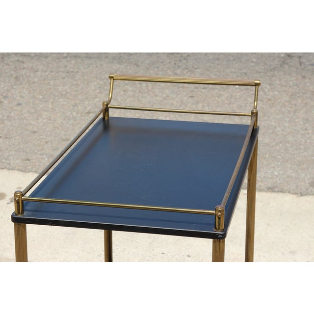 Maxwell Phillip Brass Bar Cart With Black Shelves For Sale - Image 5 of 9