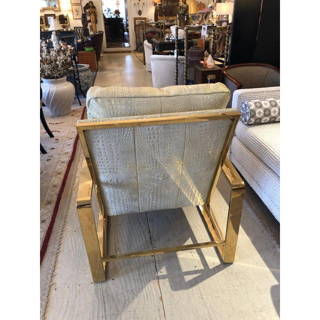 Metallic Faux Crocodile and Brass Club Chair For Sale In Philadelphia - Image 6 of 13