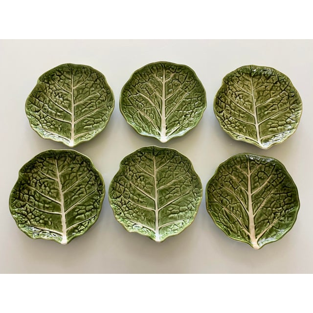 Mid 20th Century Green Cabbage Leaf Plates Portugal - Set of 6 For Sale - Image 10 of 13