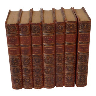 """The Life of Sir Walter Scott"" Leather Covered Books - Collection of 7 For Sale"