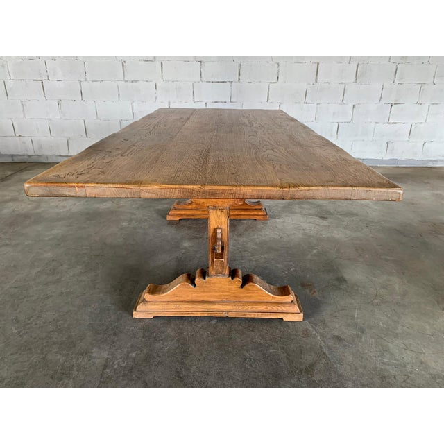 Brown Antique French Farmhouse Solid Oak Wood Trestle Dining Table 19th C. For Sale - Image 8 of 13