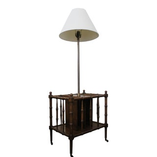 1970s Frederick Cooper Faux Bamboo and Brass Floor Table Lamp For Sale