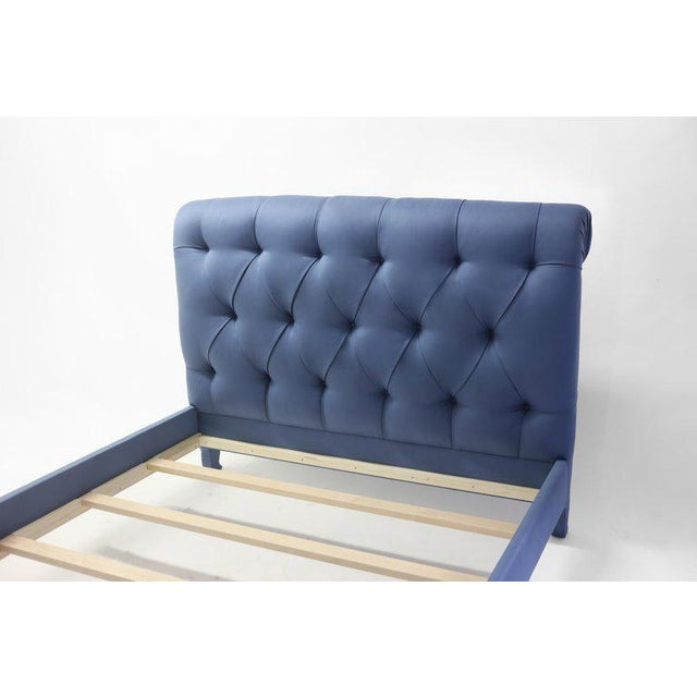 French Upholstered Tufted Sleigh Bed With Headboard and Footboard and Covered Rails For Sale - Image 3 of 7