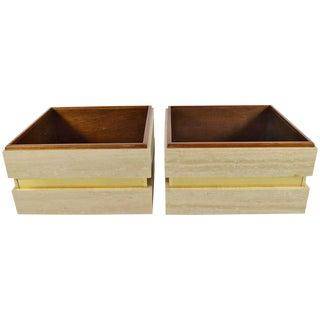 Travertine and Brass Planters Attributed to Baker - A Pair For Sale