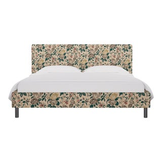 California King Tailored Platform Bed in Taupe Chintz For Sale