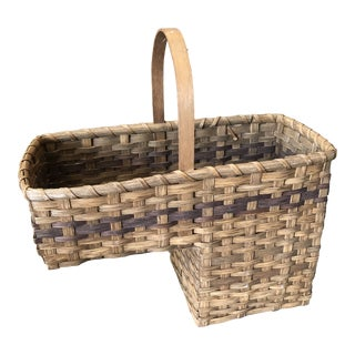 Vintage French Oak Step Basket For Sale