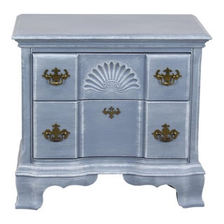 Vintage Chippendale Style Gray Nightstand For Sale