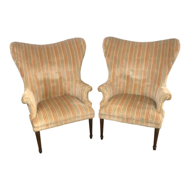 Mid-Century Modern Rainbow Velveteen Wingback Chairs - a Pair For Sale