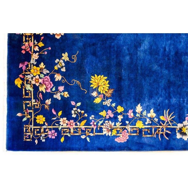 Chinese Art Deco Indigo Floral Rug - 8′ × 9′9″ - Image 3 of 4